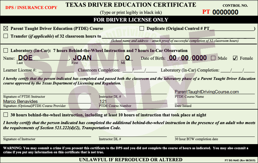 license texas driver sample permit completion test parent provisional age fees charge additional official